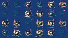 与垫铁和尾巴的金黄恶魔心脏在蓝色 皇族释放例证