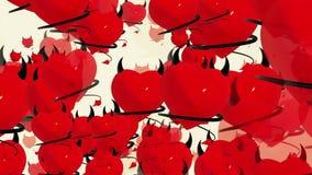 与垫铁和尾巴的飞行恶魔红色心脏在白色 库存例证