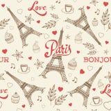 与埃佛尔铁塔的巴黎手拉的无缝的样式 免版税库存照片