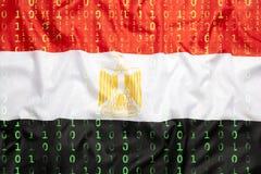 与埃及旗子的二进制编码,数据保护概念 免版税图库摄影