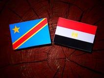 与埃及旗子的刚果民主共和国旗子在tr 免版税库存图片