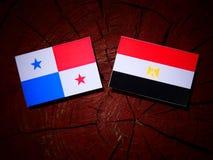 与埃及旗子的巴拿马旗子在被隔绝的树桩 库存图片