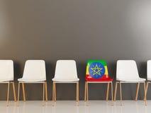 与埃塞俄比亚的旗子的椅子 皇族释放例证