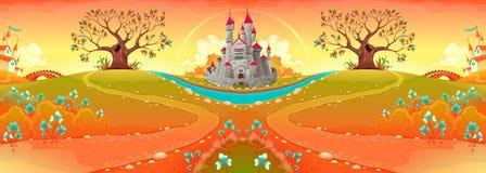 与城堡的乡下风景在日落 库存例证