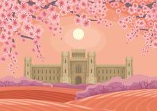 与城堡的农村风景 免版税库存照片