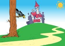 与城堡的动画片背景 免版税图库摄影