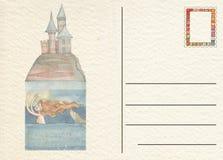 与城堡的手拉的后面明信片 免版税图库摄影