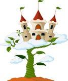 与城堡的豆芽在云彩动画片 免版税库存图片