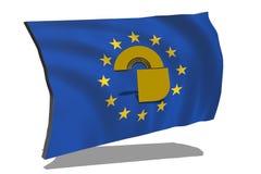 与城堡的EU旗子在3D 向量例证