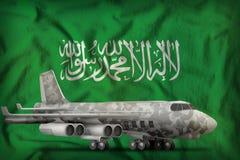 与城市伪装的轰炸机在沙特阿拉伯状态旗子背景 3d例证 向量例证
