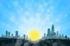 与城市剪影的自然风景 免版税库存照片