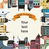 与城市动机2的框架 免版税库存照片