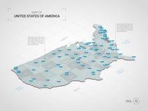 与城市名字和admin的等量美利坚合众国地图 库存例证