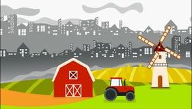 与城市后面的和农田的都市种田的动画前面的 皇族释放例证