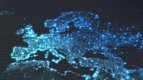 与城市和人口密度区域发光的细节的黑暗的地球地图  欧罗巴wiew  3d例证 皇族释放例证