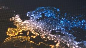 与城市和人口密度区域发光的细节的黑暗的地球地图  欧罗巴wiew  3d例证 库存例证