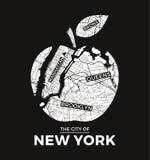 与城市地图的纽约大苹果T恤杉图形设计 库存例证
