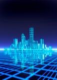 与城市的一个霓虹网格作用背景 免版税图库摄影