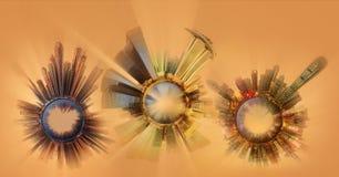 与城市的首要的大厦和吸引力的微型地球行星 库存图片