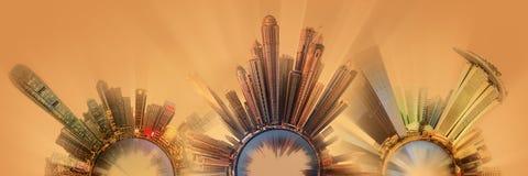 与城市的首要的大厦和吸引力的微型地球行星 免版税库存图片