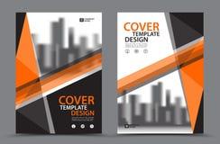 与城市背景企业书套设计模板的橙色色彩设计在A4 小册子飞行物布局 年终报告 皇族释放例证