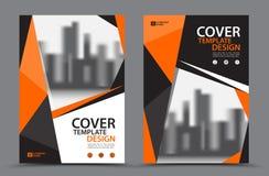 与城市背景企业书套设计模板的橙色色彩设计在A4 小册子飞行物布局 年终报告 库存例证