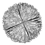 与城市,图纸样式的抽象3d球形 库存例证