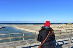 与基于木扶手栏杆和看看法的妇女的海滩 冬季衣服和红色帽子 好日子,有波浪的蓝色海 库存图片