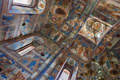 与基督的复活教会壁画的内部Ros的 免版税库存图片