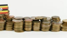 与堆的乌干达旗子金钱硬币 影视素材