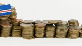 与堆的佛得角旗子金钱硬币 影视素材