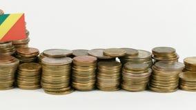 与堆的刚果共和国旗子金钱硬币 影视素材