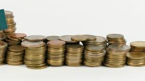 与堆的土库曼斯坦旗子金钱硬币 股票录像