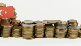 与堆的土耳其旗子金钱硬币 股票视频