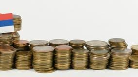 与堆的塞尔维亚旗子金钱硬币 影视素材