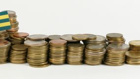 与堆的多哥旗子金钱硬币 股票视频
