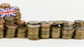 与堆的大英国旗子金钱硬币 股票录像