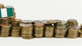与堆的尼日利亚旗子金钱硬币 影视素材