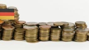 与堆的德国旗子金钱硬币 股票视频