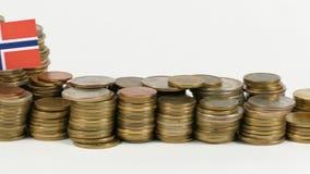 与堆的挪威旗子金钱硬币 股票视频