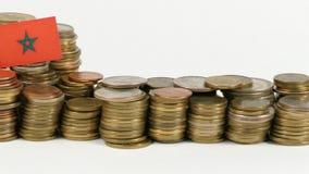 与堆的摩洛哥旗子金钱硬币 股票视频