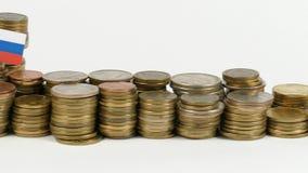 与堆的斯洛文尼亚旗子金钱硬币 股票视频
