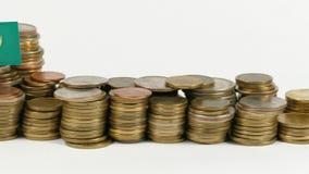与堆的毛里塔尼亚旗子金钱硬币 股票视频