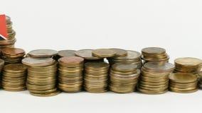 与堆的特立尼达和多巴哥旗子金钱硬币 影视素材