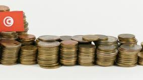 与堆的突尼斯旗子金钱硬币 影视素材