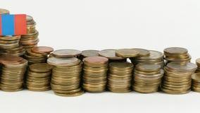 与堆的蒙古旗子金钱硬币 股票视频