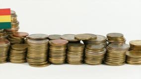 与堆的玻利维亚旗子金钱硬币 股票视频