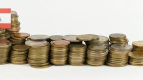 与堆的黎巴嫩旗子金钱硬币 股票录像