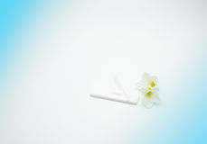 与塑料吸管和白花的甲基苯丙胺测试在与拷贝空间的白色和蓝色背景,增加您自己的文本 库存图片