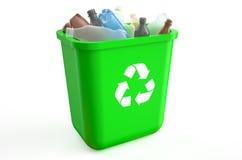 与塑料瓶的回收站 免版税库存照片